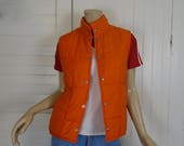 70s / 80s Puffy Vest in Orange- 1970s Disco Athletic Ski - Quilted Puffer Jacket- Medium- Disco Back to the Future