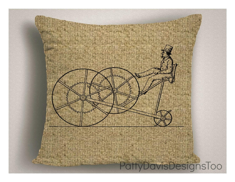 Burlap Pillows, Man Cave Decor, Steam Punk Pillow Covers, Steam ...