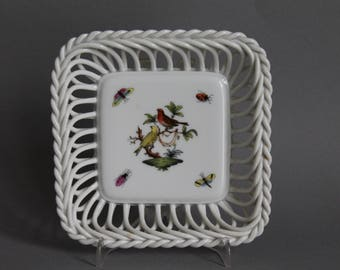 Herend Rothschild Bird Reticulated Openwork Square Tray # 7378 RO