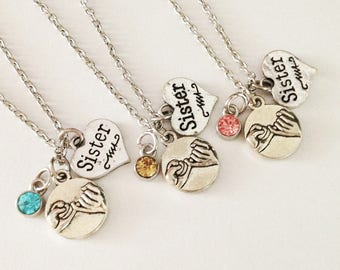 set 3 sister necklace - pinky promise necklace - birthstone necklace - friendship necklace - girlfriend gift