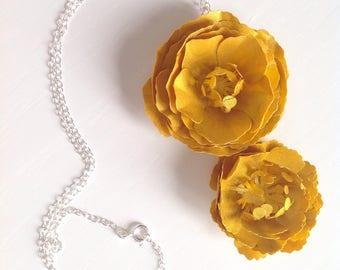 Golden Paper Rose Pendant