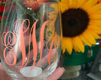 Stemless Monogrammed Wine Glass
