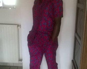 fabric short sleeve shirt and Capri pants set