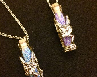 Fairy tale Dancing pixie glitter dust rare terrarium necklace