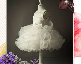 High End Lace and Cascading Ruffle Flower Girl Dress