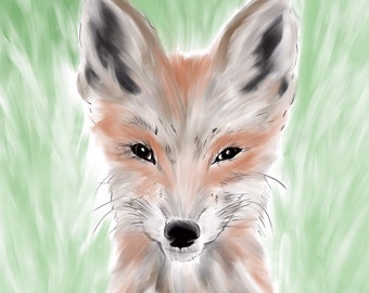 """Fox wet flat brush paint and ink drawing print - 8""""x10"""""""