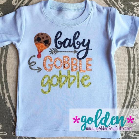 Thanksgiving Baby Gobble Gobble!  Turkey Dinner Tee, Bodysuit, Onesie, Dress, Tutu, Shirt, TShirt