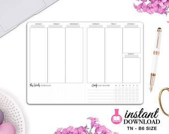 Printable TN Inserts - B6 Size / Foxy Fix #5 -  Weekly Planner - Week on 2 Pages - Vertical - Travelers Notebook