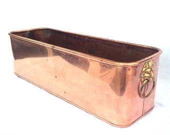 """Copper Planter, Large Rectangular Jardiniere or Cache Pot, Repoussed Lions Head Handles, Hand Made in England, Circa 1930, 18"""" x 6"""" x 5.5"""""""
