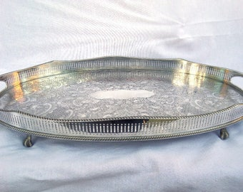 """Silver Plated Tray, Large Oval Drinks / Serving Tray, Claw Footed, Curved Galleried Sides, 20"""" x 12"""", Immaculate Silver Plated Copper"""