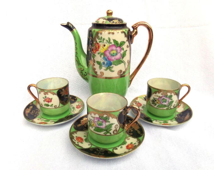 Antique Japanese Samurai China Tea or Coffee Set, Handpainted in Japan Circa 1920, Teapot, 4 Cups and Saucers, Immaculate Unused Condition