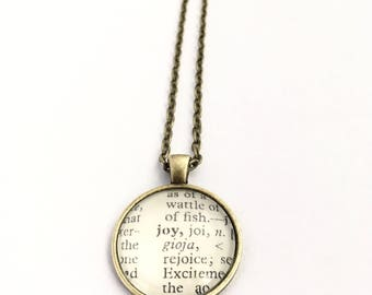 JOY Vintage Dictionary Word Pendant