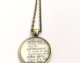 COFFEE LOVER Vintage Dictionary Word Pendant