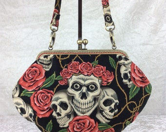 Gothic Skulls And Roses Rose Tattoo Grace frame handbag purse Alexander Henry fabric bag clutch handmade in England