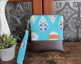 Aqua Floral Wristlet Bag, Small Purse, Aqua Flowers, Faux Leather Bottom, Removable handle, Wristlet Clutch, Small Travel Zipper Bag