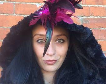 mohawk hood/ pink sequin hood/ burning man hood/ rave hood/  scoodie/Warrior hood/ rave wear/ dragon/mermaid /mohican/ feather hood/festival
