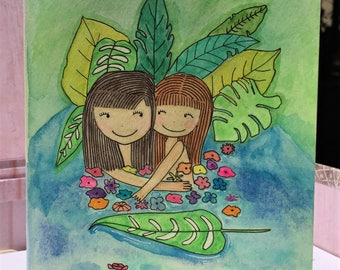 Original hand-painted watercolor card / Mommy and Daughter / Sisters / Friendship / Love / no wording card, NOT a print