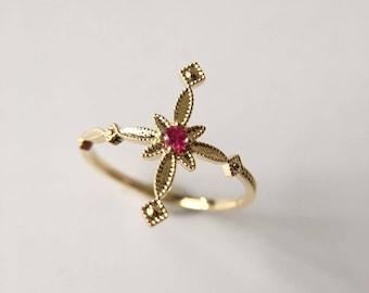 0.02 Carat Ruby Engagement Ring
