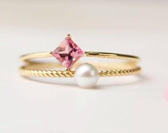 4.6 Carat Rubellite Tourmaline Engagement Ring