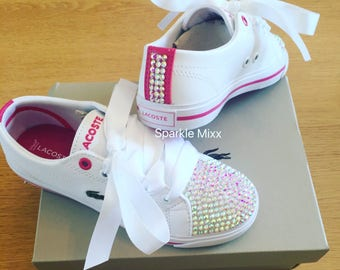 Kids Crystallised Leather Lacoste Trainers with ribbon laces. Perfect for special occassions
