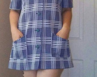 70s Button-Up Polyester Blouse or Dress