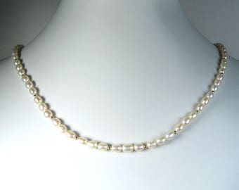 """Freshwater Pearl Necklace Gold 18"""""""