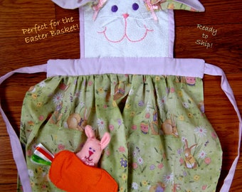 Easter Apron, Child Apron,Embroidered Apron,Personalized Apron,Bunny Apron for Easter Basket!,Easter Gift Ready To Ship,S[rig Apron Child