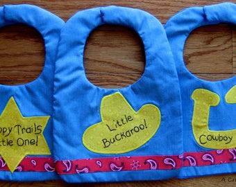 Cowboy Baby Bib, Little Buckaroo Bib, Happy Trails Little One Baby Bib, Cowboy Up Baby Bib, Western Toddler Bib,  Baby Boy Shower Gift