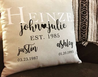 Personalized Family (Wedding, Anniversary, etc.) Case + Pillow Included