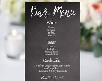 Wedding Bar Sign, Bar Menu Template, Bar Menu Sign, Printable Sign, DIY, Chalkboard Template, Chalkboard Bar Menu Sign, YOU EDIT, Template