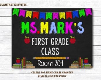 Teacher Door Sign, Teacher Name Sign, Classroom Decor, Classroom Printable, Teacher Sign, Personalized Teacher Sign, DIGITAL ,Classroom Sign