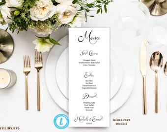 Wedding Menu Template, Printable Menu Template, Wedding Menu, Instant Download, Wedding Dinner Menu, Editable, Editable Text and Color, DIY