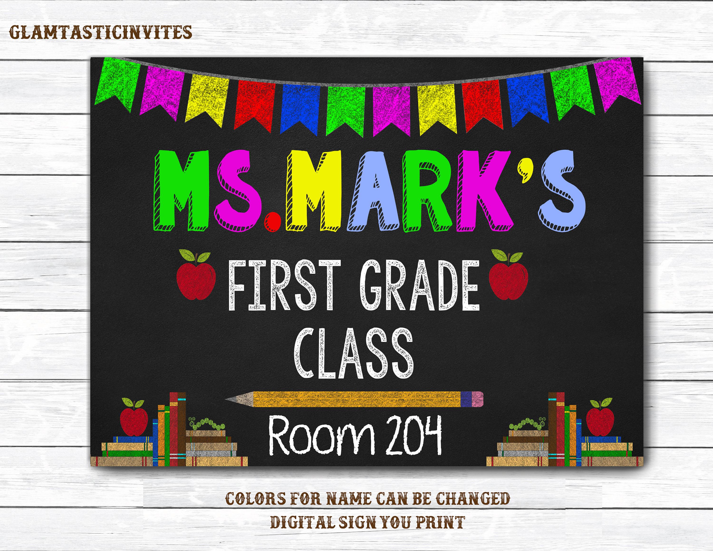 Classroom Decor Etsy ~ Teacher door sign name classroom decor