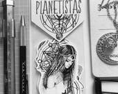 PLANETISTA MOON CHILD Mädchen Flocke Aufkleber geometrischen Raum Zeichen Universum Aquarell schwarz weiß Planung Planer rosa klassische Planer fashi