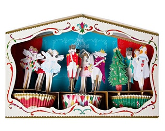 Meri Meri nutcracker cupcake kit. Christmas cupcake topper. Christmas party decor. Christmas tableware. Christmas party. Santa toppers