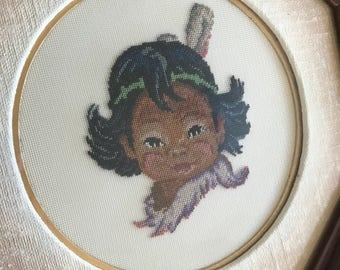 Vintage needlepoint art, vintage embroidery, Native American girl, First Nations embroidery, framed needlepoint, framed embroidery