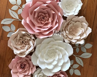 10 pc set mixed sizes Paper Flower, Nursery, Girls Room, paper flowers, Paper Flower Wall Decor, Customize your colors