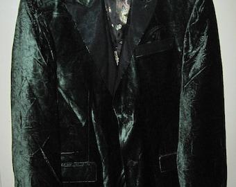 Classic EDWARD DADA HOLLYWOOD Tuxedo Style Blazer Velvet Jacket Paisley Suit Sz M