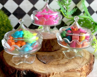 Miniature candy and candy dish, dollhouse candy shop, fairy candies