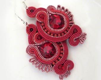 Ruby Chandelier earrings, Red Ruby earrings, Bridal Ruby chandelier dangle earrings, Bridal Ruby earrings, Swarovski  soutache earrings