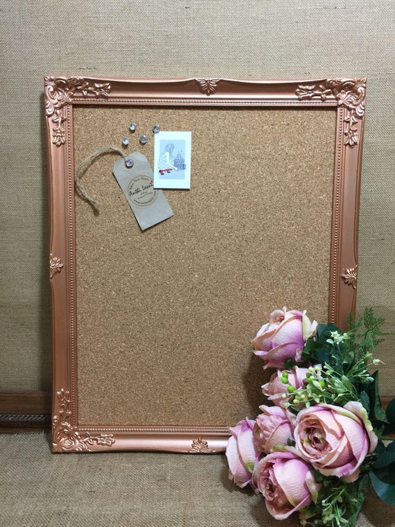 COPPER FRAMED CORKBOARD - Rose Gold Pinboard | Copper Vision Board | Rose Gold Message Board | Copper Notice Board | Copper Memo Board