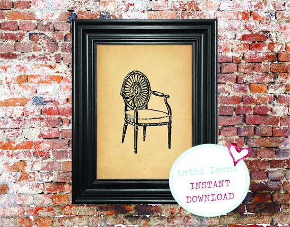 Decorative Antique Chair Instant download | Vintage Old Paper Print Design | Old Chair Book Illustration | Just Download and Print #0007