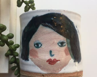handpainted / face / girl / tumbler / ceramic