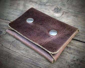 Horween Leather Minimalist Wallet, Small Hipster Wallet, Brown Pouch Wallet, Cash Wallet, Snap Wallet, Credit Card Wallet, Men's Wallet
