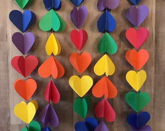 3D rainbow heart garland/birthday party/rainbow heart bunting/rainbow party decorations/playroom decor/baby shower decoratioins