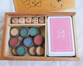 Vintage mid century box games compendium, 5 dice, cards, counters. 1950's retro