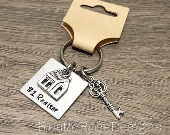 Realtor key chain / Hand stamped keychain / #1 realtor gift / Gift for realtor / house and key charms / realtor thank you gift / Number one