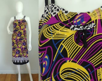 Vintage 90s  Geometric Print Dress,  Bright Colored Dress, Abstract Print, Sleeveless Dress, Lightweight Dress, Sun Dress, Black Purple ,  M