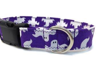 Ghost Dog collar, halloween dog collar, dog collar, purple dog, custom dog collar, purple ghost dog collar