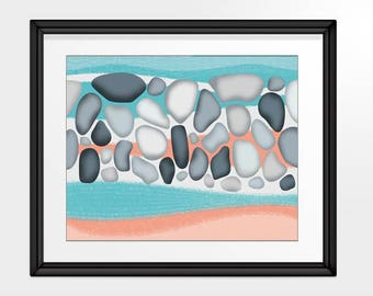 Beach Pebbles, Abstract Sand and Water Inspired Wall Art, Rounded Stones Print, Modern Wall Art in peach, aqua and greys, INSTANT DOWNLOAD